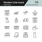 Dry Clean and Laundry icons. Modern line design set 54. For presentation, graphic design, mobile application, web design, infographics. Editable Stroke.