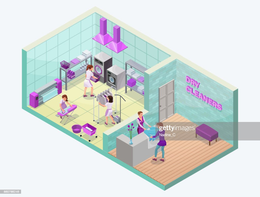 Dry cleaners or laundry service isometric 3d illustration with washing and ironing machines, laundress, baskets, detergent, vector interior of clothes cleaning shop