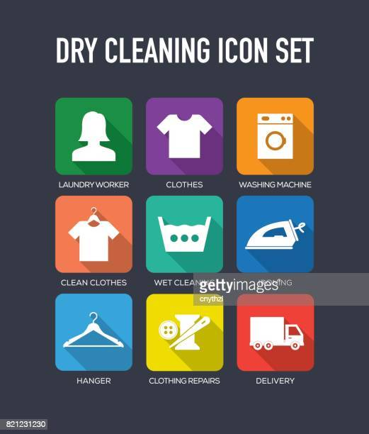 dry cleaning flat icon set - iron appliance stock illustrations, clip art, cartoons, & icons
