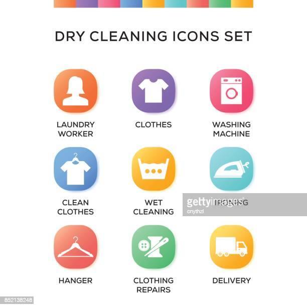 Nettoyage à sec Icons Set sur fond dégradé