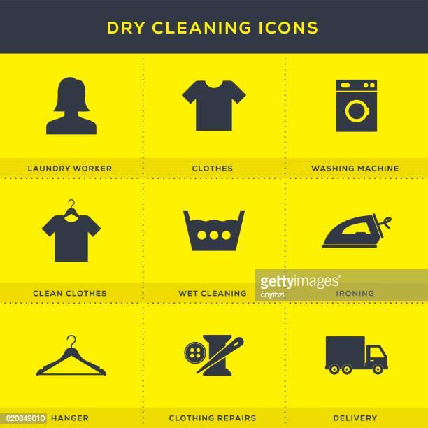 dry cleaning icons set - iron appliance stock illustrations, clip art, cartoons, & icons