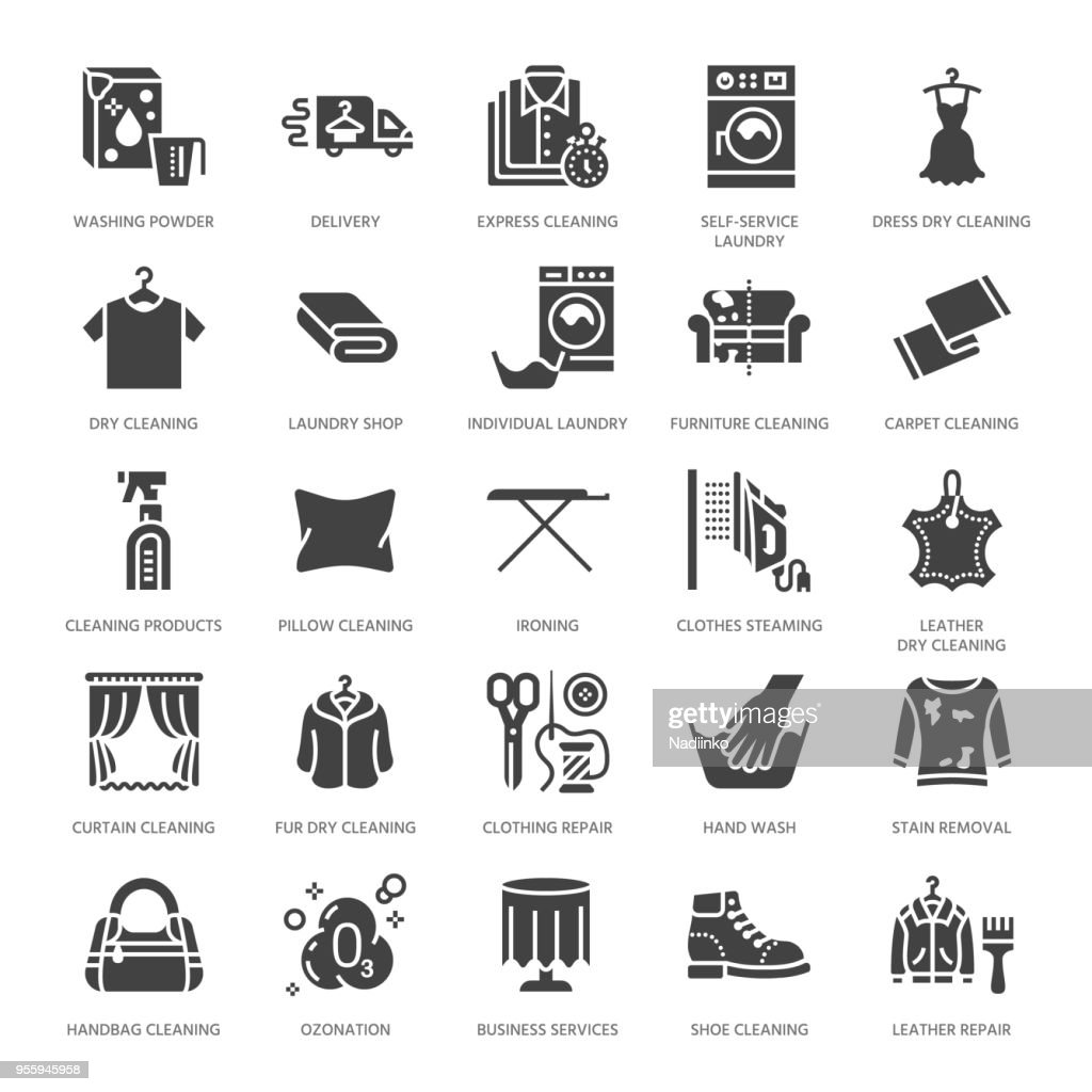 Dry cleaning, laundry flat glyph icons. Launderette service equipment, washer machine, shoe shine, clothes repair, garment ironing and steaming. Washing signs. Solid silhouette pixel perfect 64x64