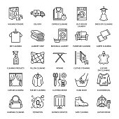 Dry cleaning, laundry line icons. Launderette service equipment, washing machine, clothing shoe and leaher repair, garment ironing and steaming. Washing thin linear signs for self-service laundry