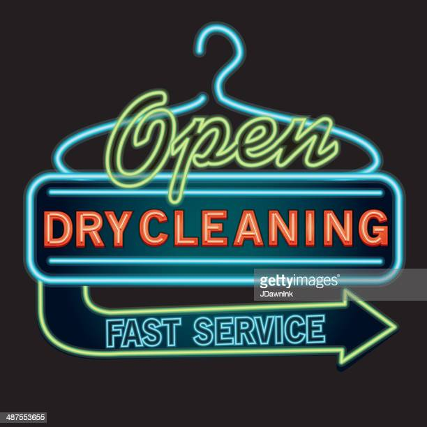 dry cleaning neon sign - dry cleaned stock illustrations