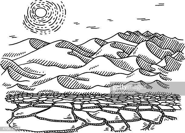 Dry Desert Landscape Sun Drawing
