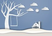 Dry tree and swing with barn landscape background, paper art style