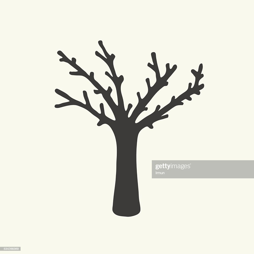Dry tree silhouette vector design