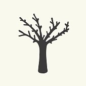Dry tree silhouette vector design