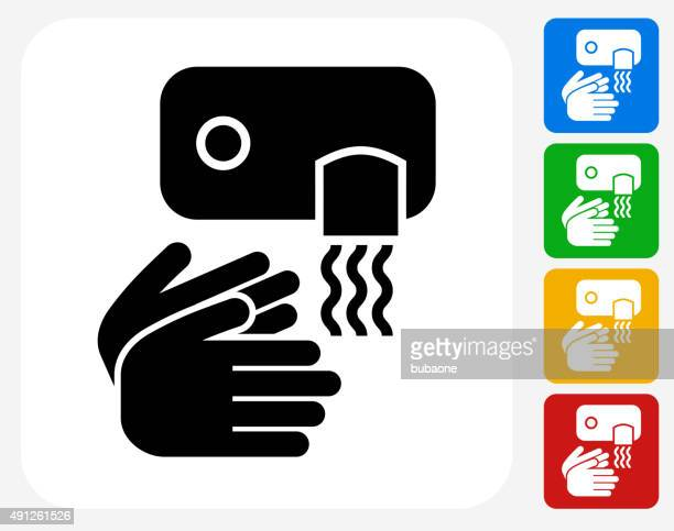 drying hands icon flat graphic design - hair dryer stock illustrations, clip art, cartoons, & icons