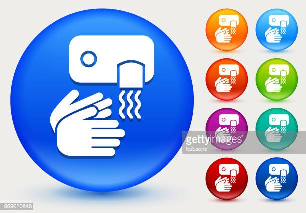 drying hands icon on shiny color circle buttons - währung stock illustrations