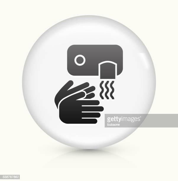 drying hands icon on white round vector button - währung stock illustrations