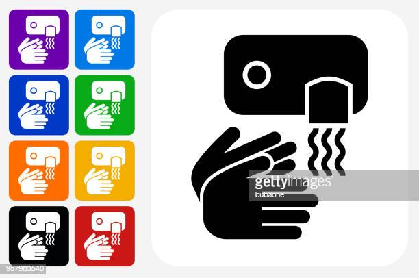 drying hands icon square button set - währung stock illustrations
