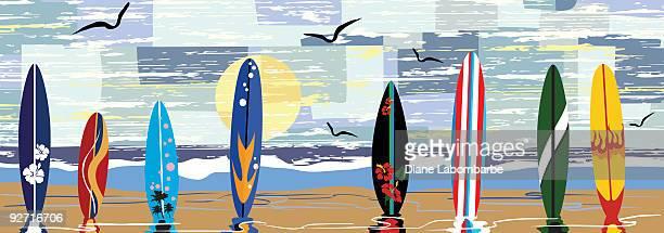 ilustraciones, imágenes clip art, dibujos animados e iconos de stock de secado al sol - tabla de surf