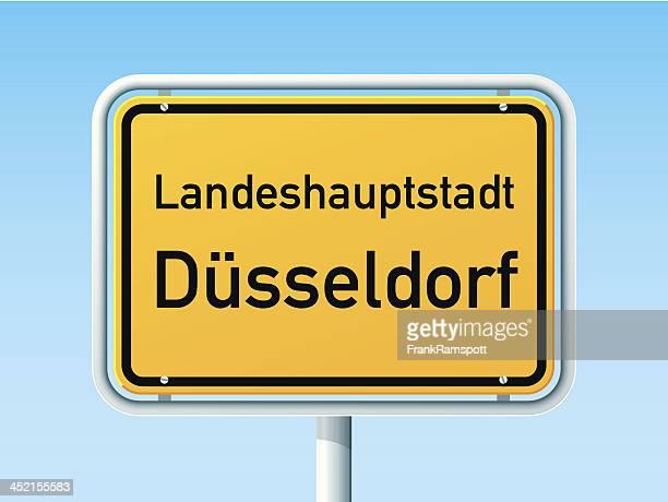 düsseldorf german city road sign - human settlement stock illustrations, clip art, cartoons, & icons