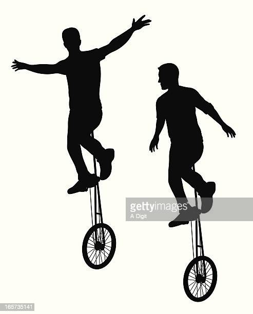dual unicycle vector silhouette - unicycle stock illustrations, clip art, cartoons, & icons
