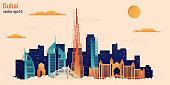 Dubai city colorful paper cut style, vector stock illustration