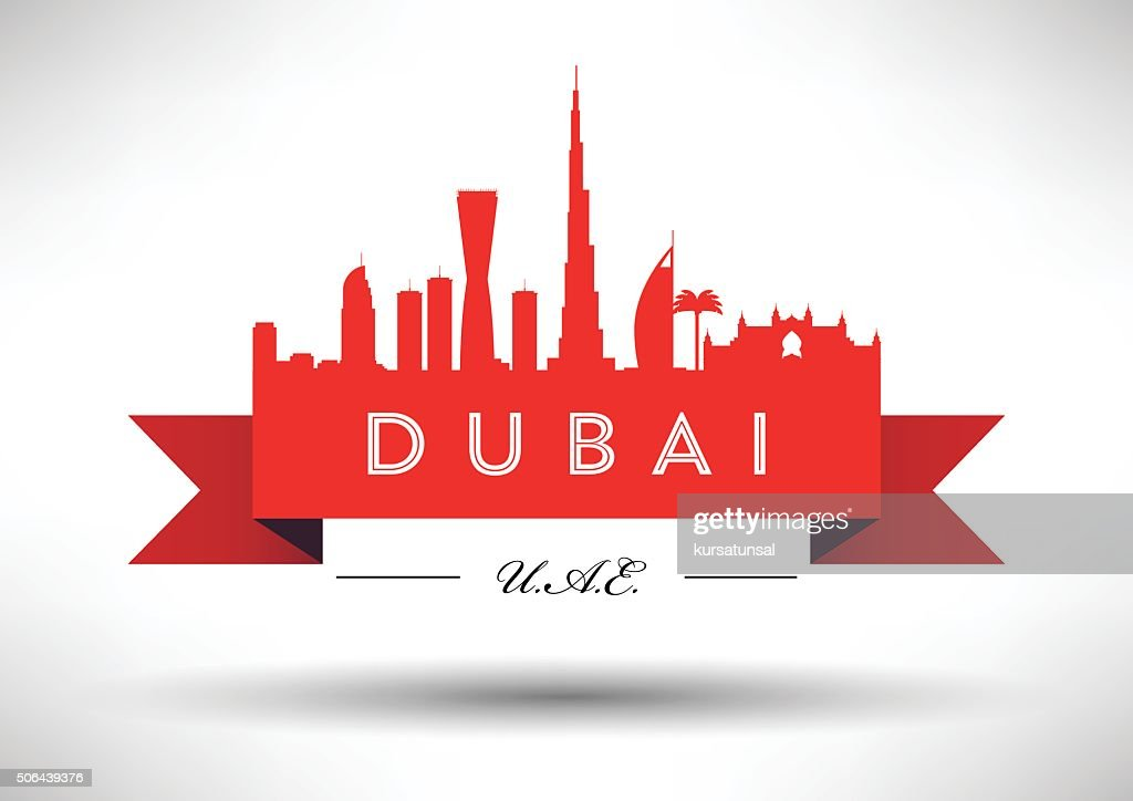 Dubai City Skyline Typography Design