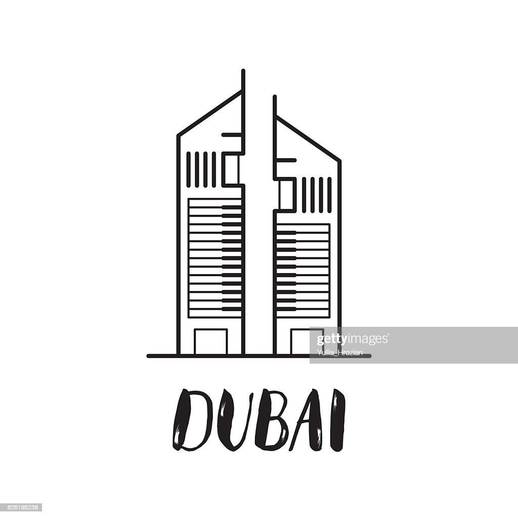 Dubai Emirates towers line art illustration with modern letterin