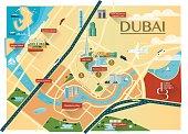 Dubai Map with buildings - Flat
