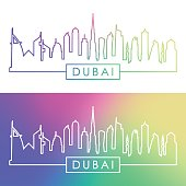 Dubai skyline. Colorful linear style. Editable vector file.