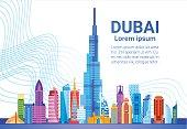 Dubai Skyline Panorama, Modern Building Cityscape Business Travel And Tourism Concept