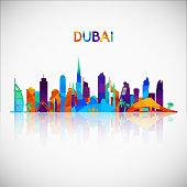 Dubai skyline silhouette in colorful geometric style. Symbol for your design. Vector illustration.
