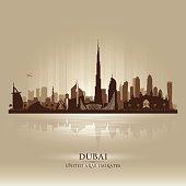 Dubai UAE city skyline silhouette