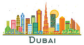Dubai UAE City Skyline with Color Buildings.