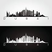Dubai UAE skyline and landmarks silhouette.