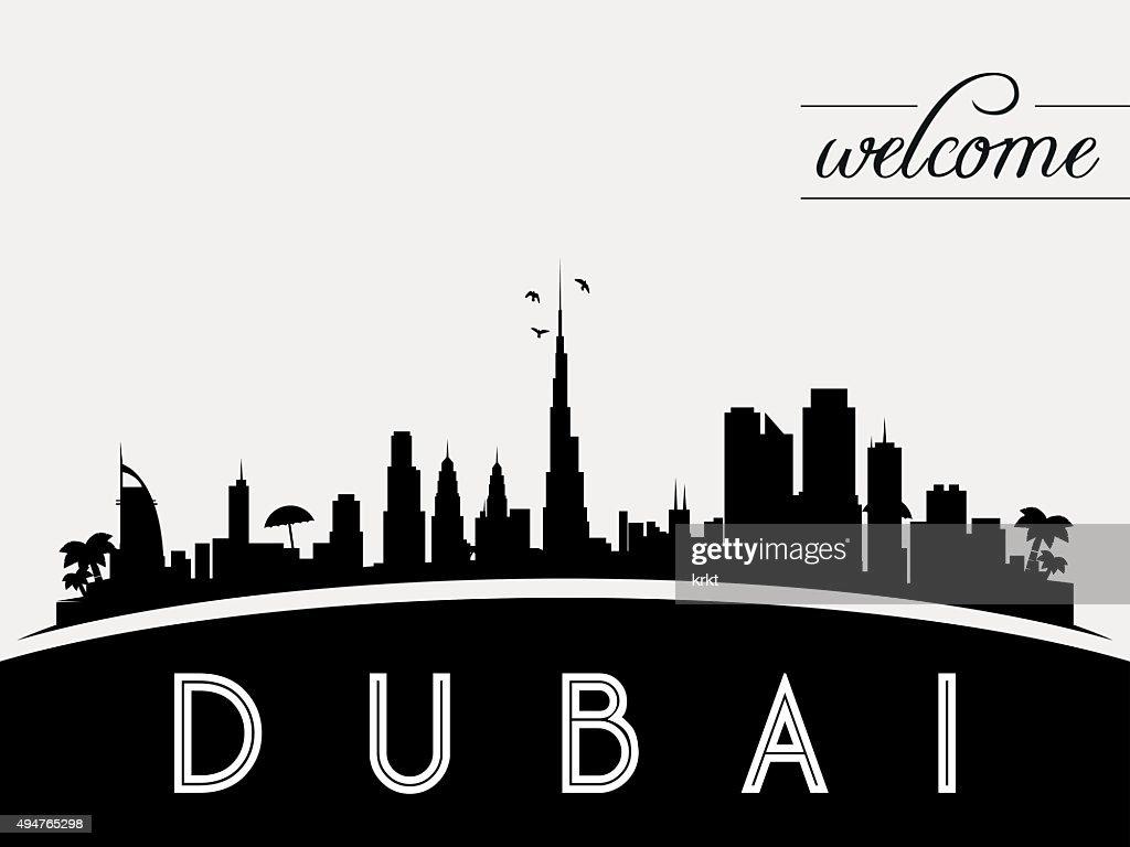 Dubai UAE skyline silhouette black and white design