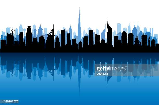 dubai (all buildings are complete and moveable) - skyline stock illustrations