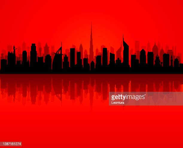 dubai (all buildings are complete and moveable) - gulf countries stock illustrations