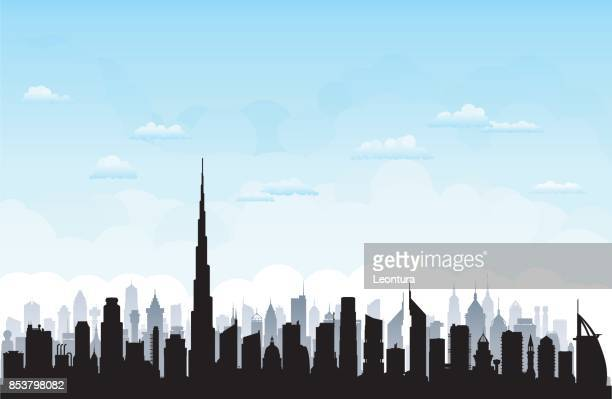 dubai (all buildings are moveable and complete) - skyline stock illustrations