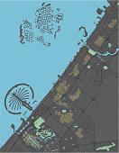Dubai vector map with dark colors.