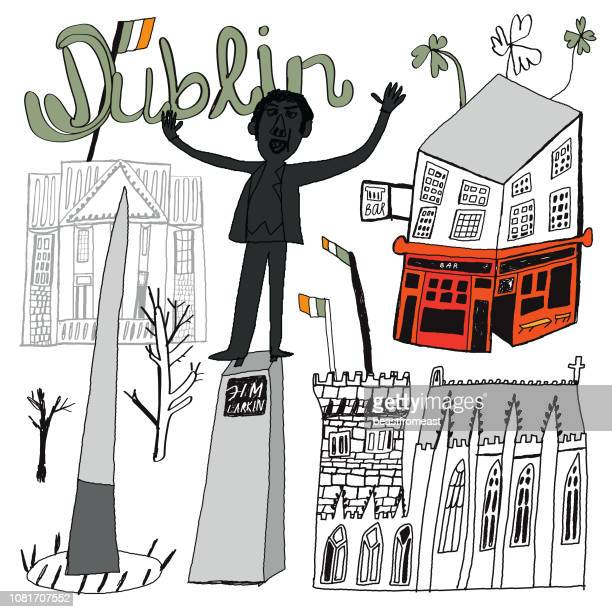 dublin in ireland city skyline vector illustration - dublin castle dublin stock illustrations