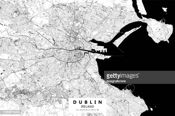 dublin, ireland vector map - dublin castle dublin stock illustrations