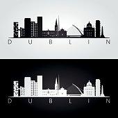 Dublin skyline and landmarks silhouette, black and white design, vector illustration.