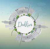 Dublin Skyline with Gray Buildings, Blue Sky and Copy Space.
