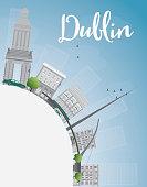 Dublin Skyline with Grey Buildings, Blue Sky and copy space