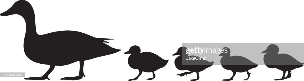 Duck and Ducklings Silhouette