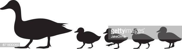 duck and ducklings silhouette - duck stock illustrations, clip art, cartoons, & icons