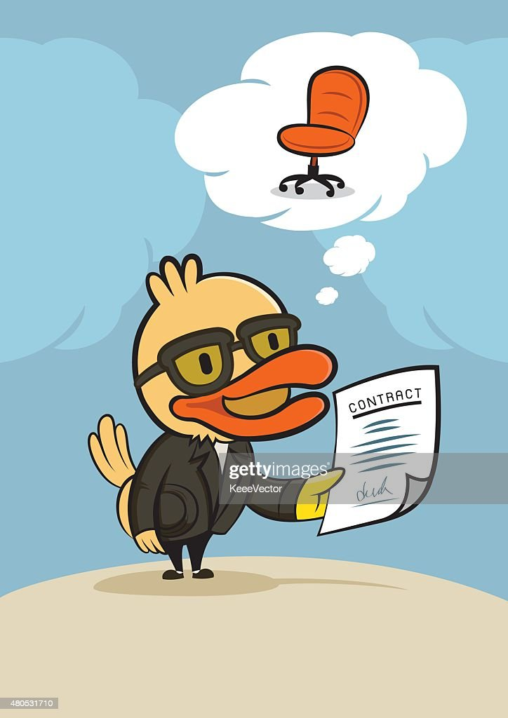 duck businessman with new contract : Vector Art