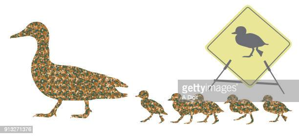duck crossing camouflage - webbed foot stock illustrations, clip art, cartoons, & icons