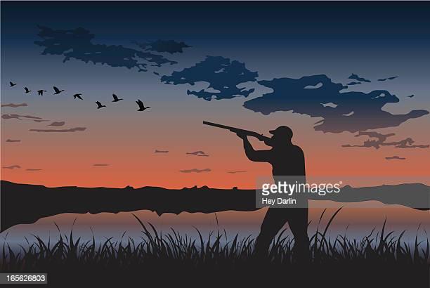 duck hunting - duck bird stock illustrations, clip art, cartoons, & icons
