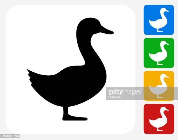 bildbanksillustrationer, clip art samt tecknat material och ikoner med duck icon flat graphic design - duck