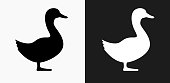 Duck Icon on Black and White Vector Backgrounds