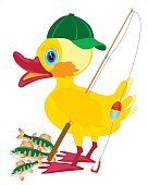 Duckling fisherman with fishing rod