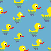 Ducks swim in pond seamless pattern. Waterbird in sea. Backgroun