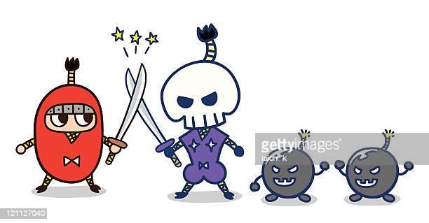 duel ninja - top knot stock illustrations, clip art, cartoons, & icons