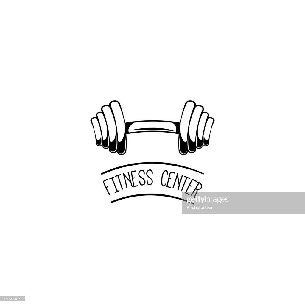 Dumbbell badge. Gym icon.Fitness center label emblem. Vector.AC